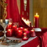 Red candles for Pentecost